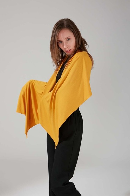 Mizalle - Combed Cotton Shawl (Mustard)