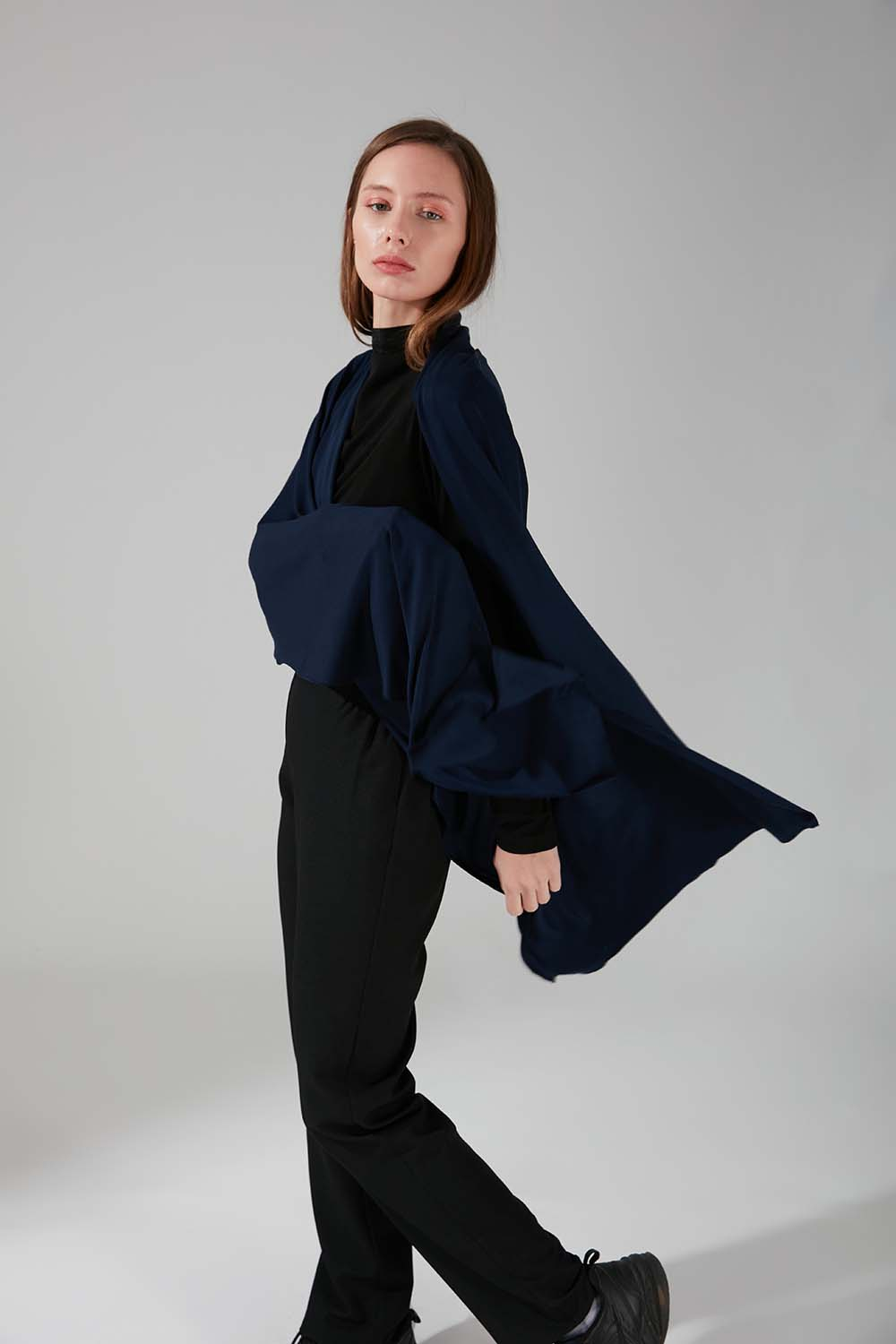 Mizalle - Combed Cotton Shawl (Navy Blue)