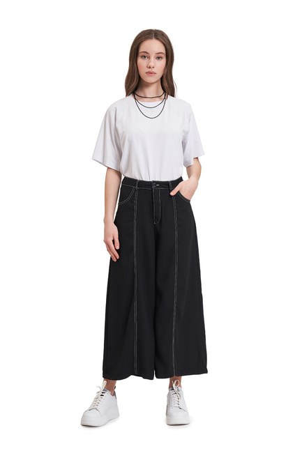 Mizalle - Contrast Stitching Trousers (Black)