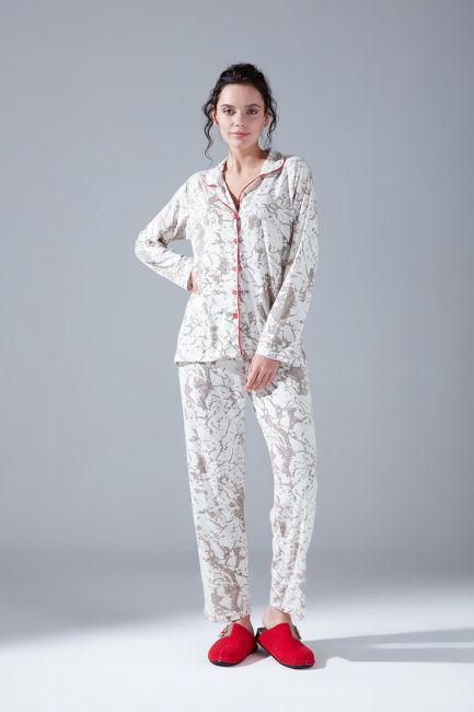 Mizalle - Cotton Pajamas Set (Patterned)