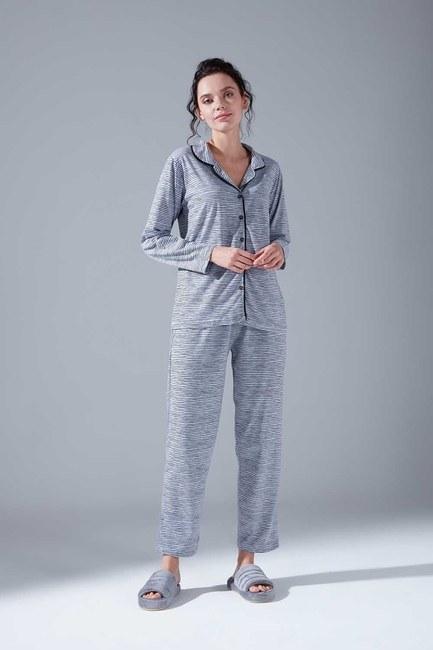 Mizalle - Cotton Pajamas Set (Striped)