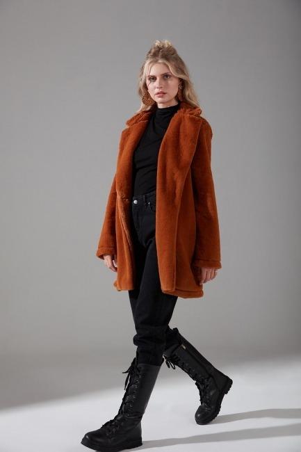 Mizalle - Design Plush Coat (Brick Red)