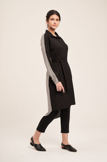 Mizalle - Double Colored Tunic Dress (Grey/Black)