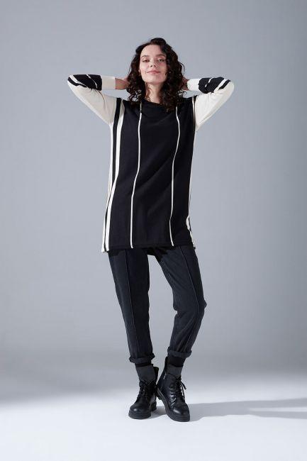 Mizalle - Double Striped Knitwear Tunic (Ecru)