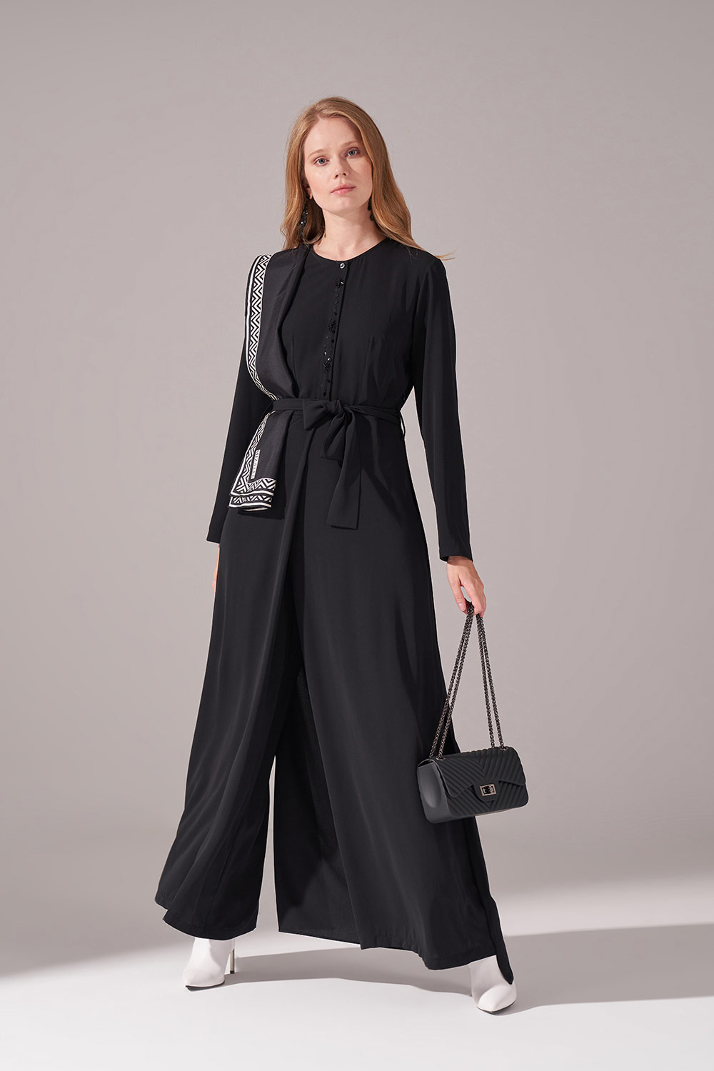 Mizalle - Embroidered Belted Jumpsuit (Black)