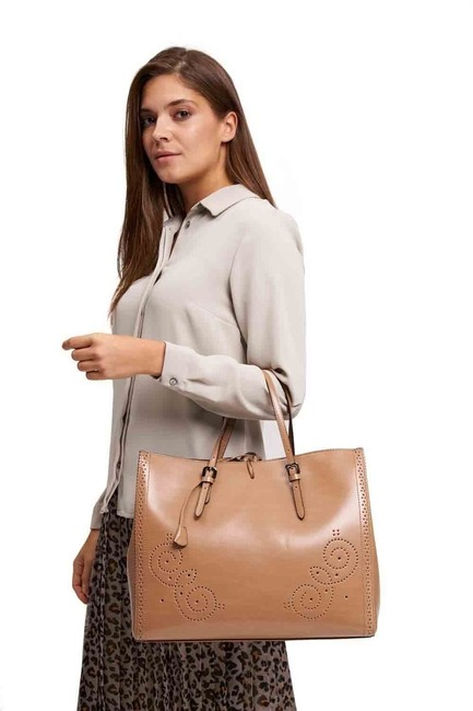 Mizalle - Embroidered Leather Large Handbag (Tan)