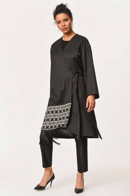Mizalle - Ethnic Jacquard Patterned Kimono (Black)