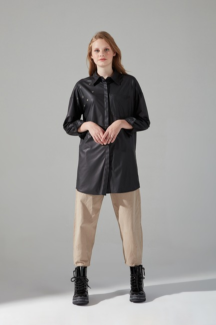 Mizalle - Eyelet Faux Leather Tunic (Black)
