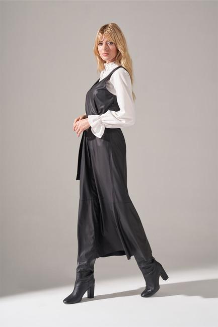 Mizalle - Faux Leather Gilet Dress (Black) (1)
