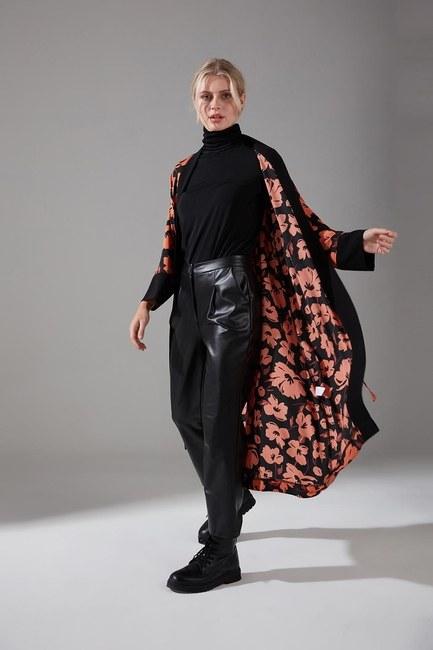 Mizalle - Floral Pattern Belted Kimono
