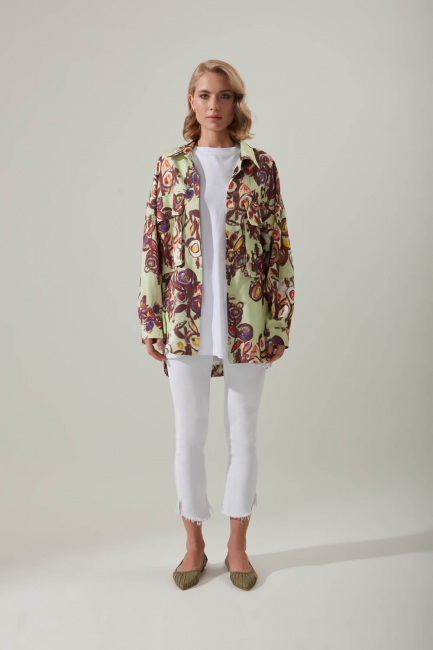 Mizalle - Floral Patterned Shirt (Colored)