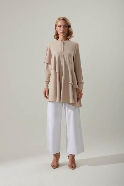Mizalle - Flounce Buttoned Tunic (Beige)