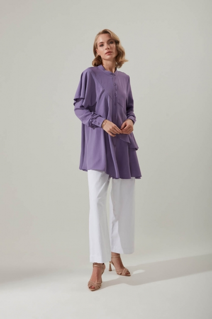Mizalle - Flounce Buttoned Tunic (Lilac)