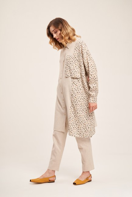 Mizalle - Flower Detailed Linen Textured Tunic (Beige)