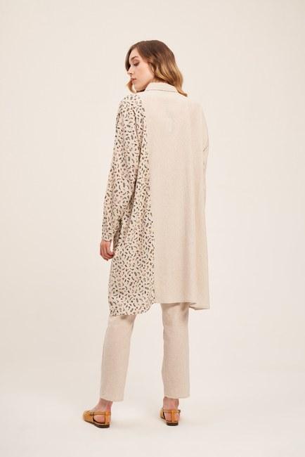 Flower Detailed Linen Textured Tunic (Beige) - Thumbnail