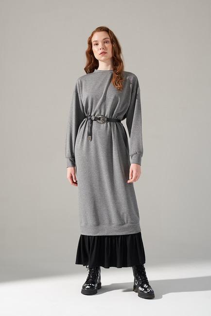 Mizalle - Garnished Skirt Patterned Dress (Grey)