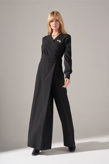 Mizalle - Gathered Waist Jumpsuit (Black)