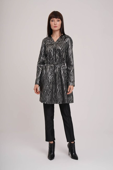Mizalle - Glitter Detailed Tunic (Grey)