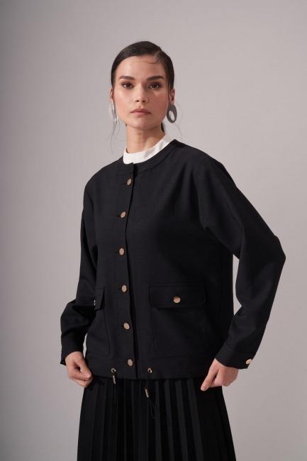Gold Button Crepe Jacket (Black) - Thumbnail