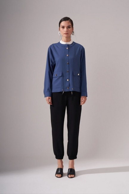 Mizalle - Gold Button Crepe Jacket (Indigo)