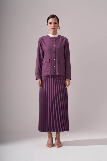 Mizalle - Gold Button Crepe Jacket (PURPLE)