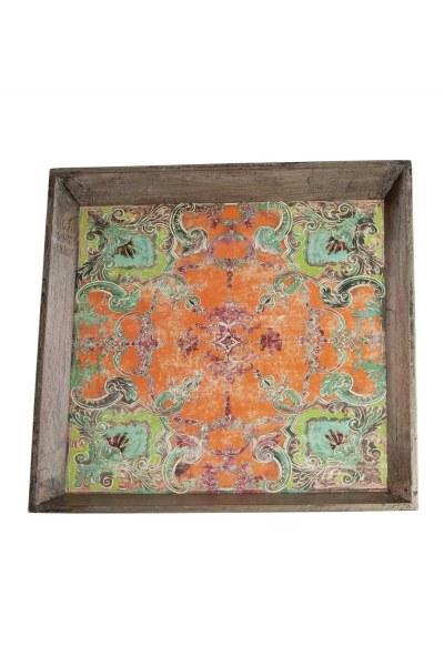 Mizalle Home - Green Motive Wooden Tray