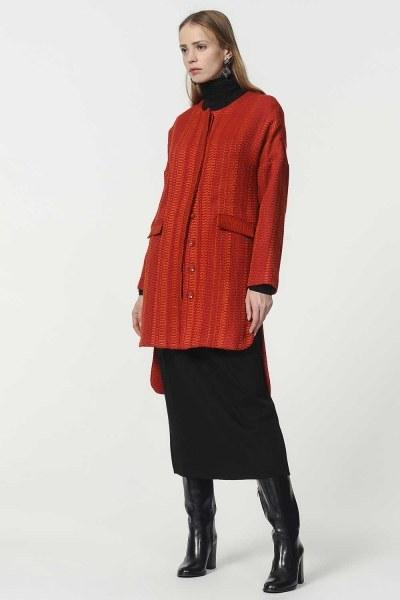 Mizalle - Honeycomb Patterned Jacket (Brick Red)