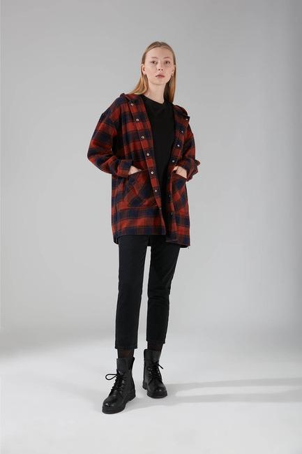 Mizalle - Hooded Plaid Shirt Jacket (Brick Red Pattern)