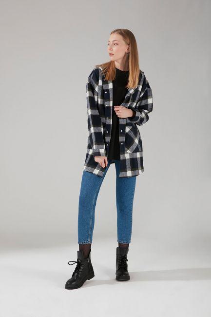 Mizalle - Hooded Plaid Shirt Jacket (Indigo)