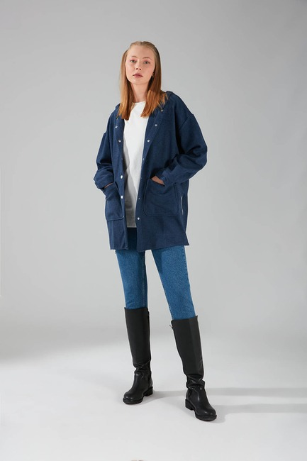 Mizalle - Hooded Plaid Shirt Jacket (Basic Indigo)
