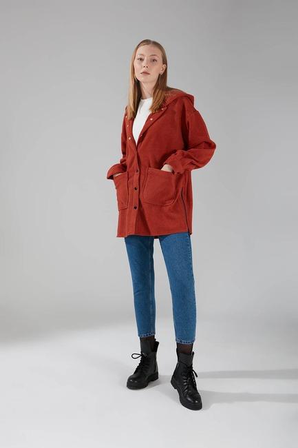 Mizalle - Hooded Plaid Shirt Jacket (Brick Red)