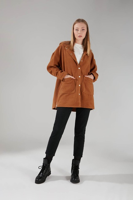 Mizalle - Hooded Plaid Shirt Jacket (Camel)