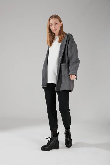Mizalle - Hooded Plaid Shirt Jacket (Grey)