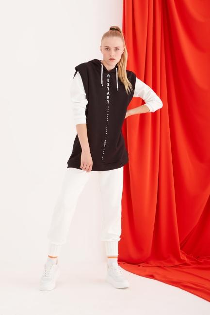 Mizalle - Hooded Sleeveless Black Sweatshirt