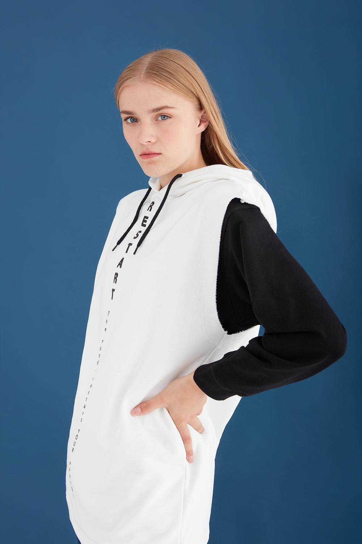 Hooded Sleeveless Grey Sweatshirt