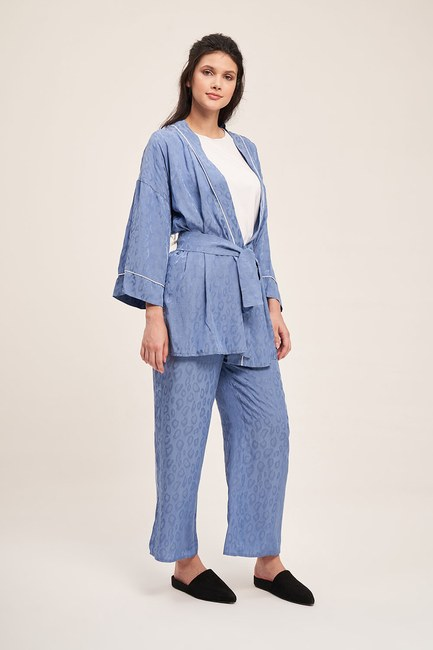 Mizalle - Jacquard Patterned Kimono Set (Indigo)