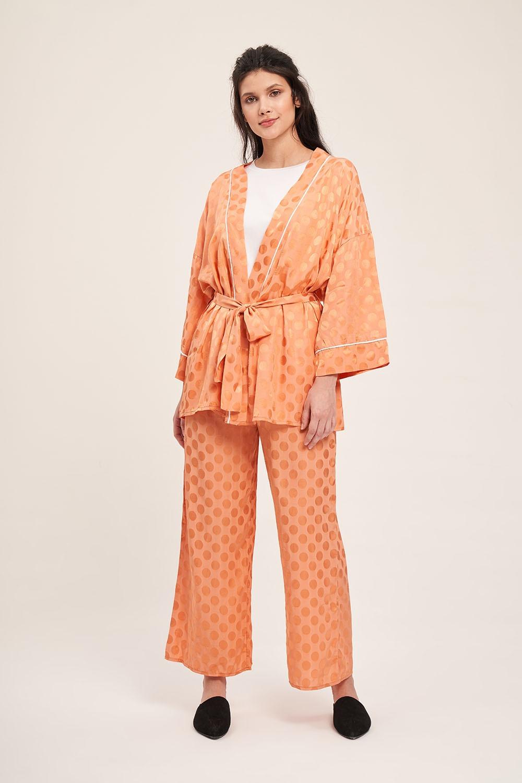 Mizalle - Jacquard Patterned Kimono Set (Pinkish Orange)