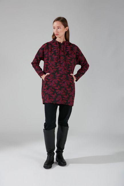 Mizalle - Jacquard Sweatshirt (Fuchsia)