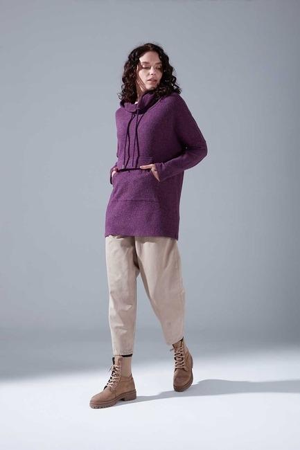 Mizalle - Kangaroo Pocket Sweatshirt (Purple)