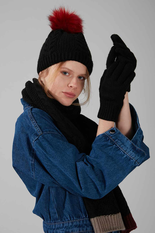 Mizalle - Knit Scarf Gloves Beanie Set (Black)