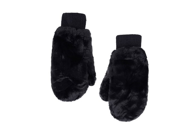 Mizalle - Knitted Fur Gloves (Black)