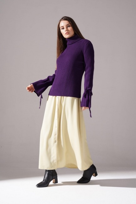Mizalle - Knitted Lace Tricot (Purple)