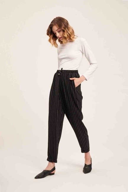 Lace-Up Striped Trousers (Black) - Thumbnail
