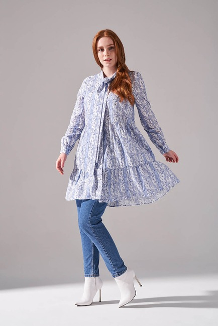 Mizalle - Lace-Up Tunic (Blue)