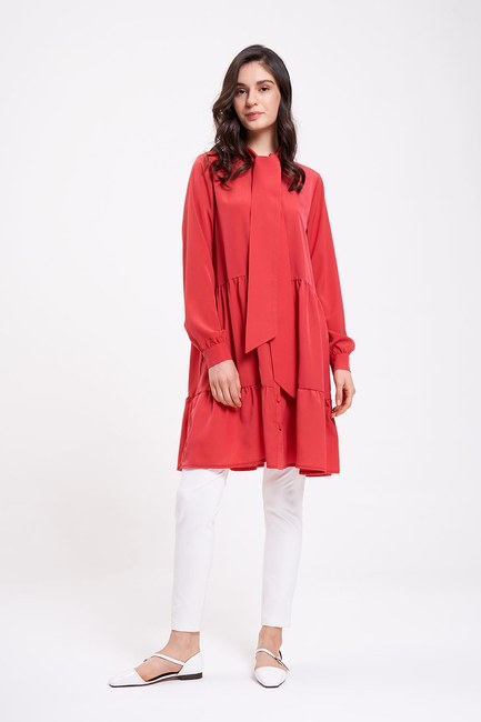 Mizalle - Lace-Up Tunic (Red)