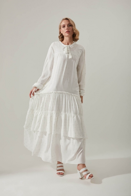 Mizalle - Layered Detailed Dress with Pleated Sleeves (Ecru)