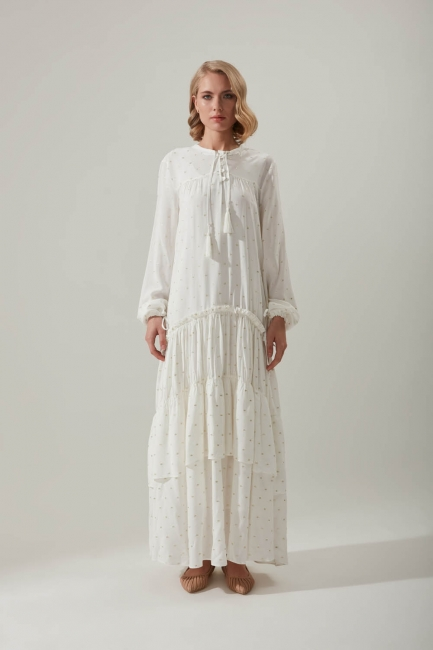 Mizalle - Layered Detailed Dress with Pleated Sleeves (Gold)
