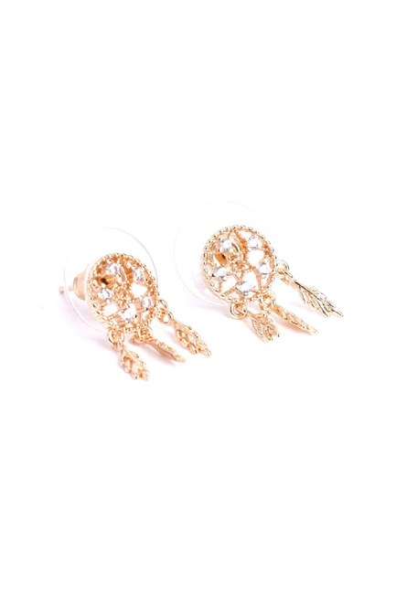 Mizalle - Leaf Detailed Small Earrings (Yellow)