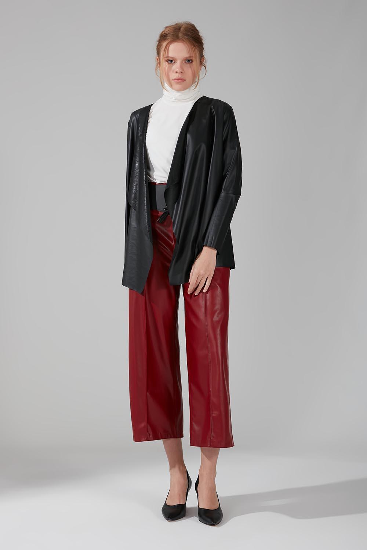 Mizalle - Leather Cardigan Jacket (Black)