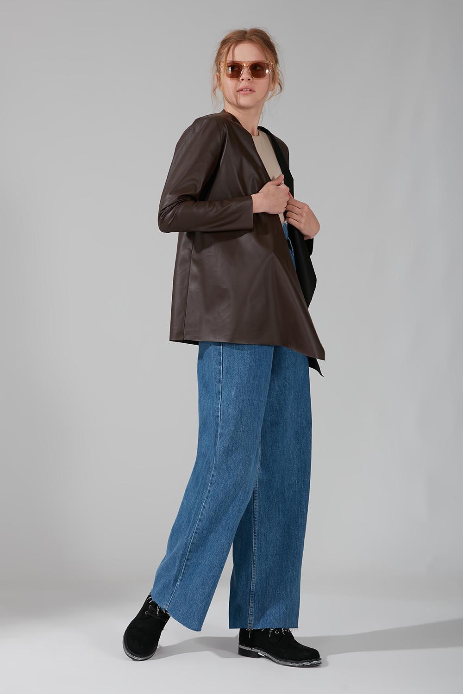 Mizalle - Leather Cardigan Jacket (Brown)